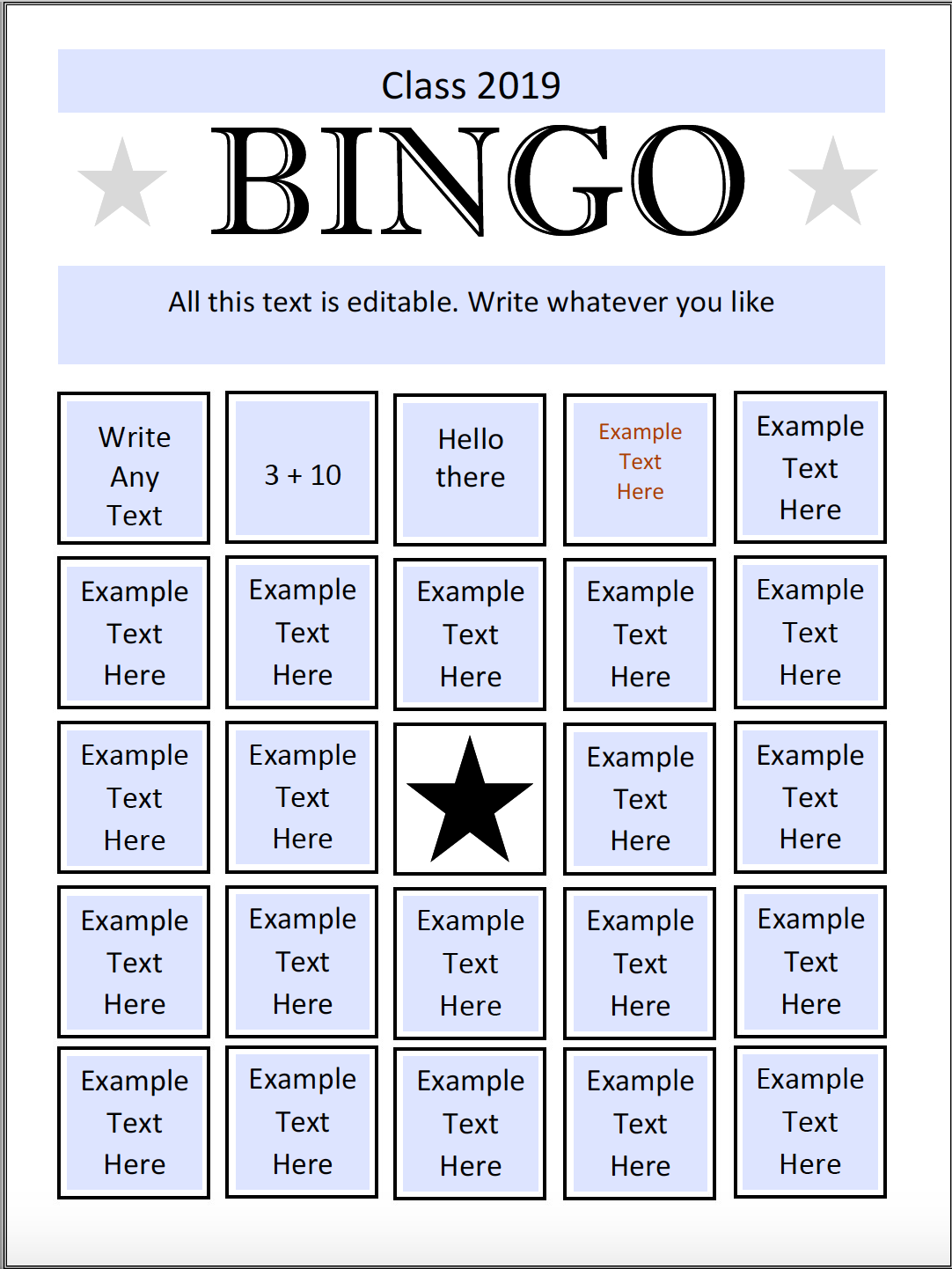 Bingo Preview with filled in answers