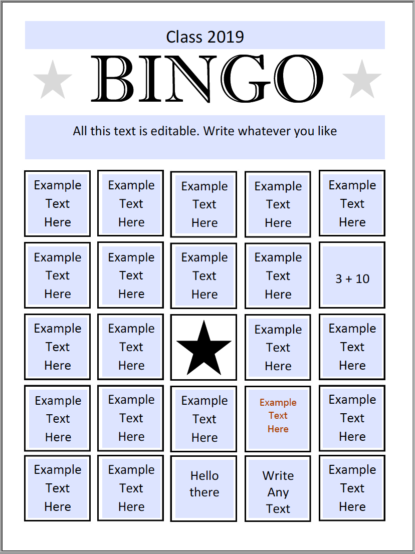 Bingo Preview Second Page with filled in answers